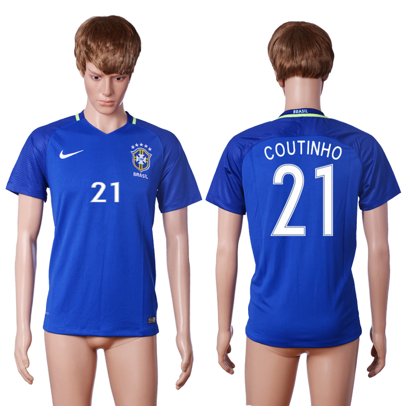 2016-2017 National Brazil away 21 COUTINHO Blue AAA+ soccer jerseys