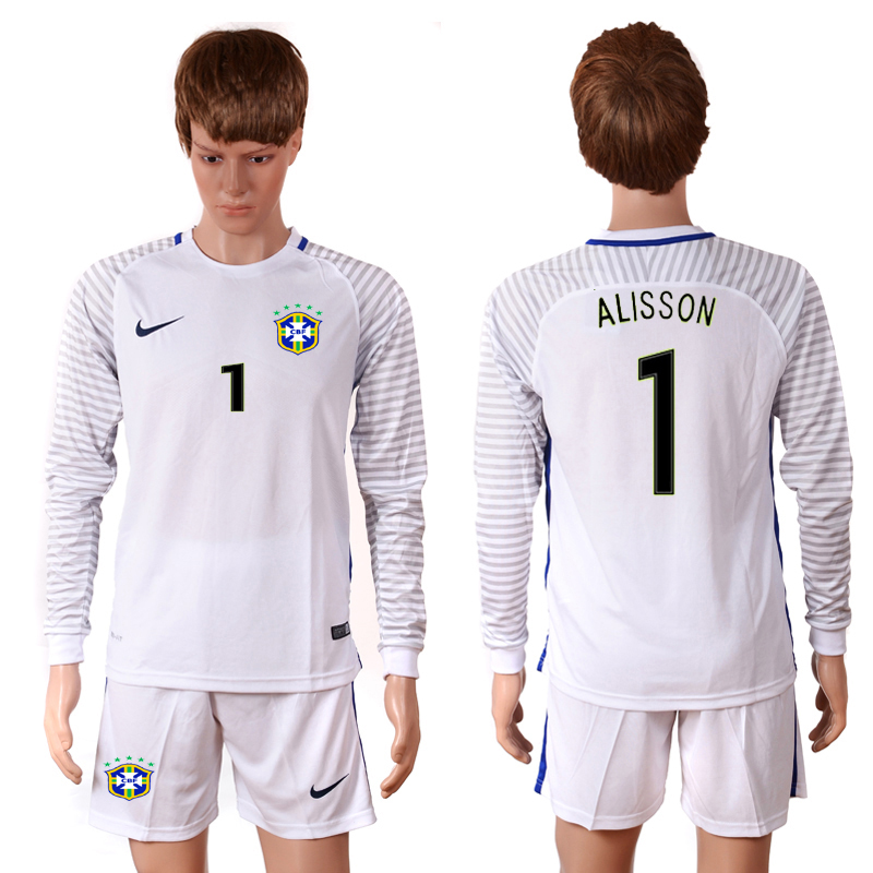 2016-2017 National Brazil white goalkeeper long sleeves 1 ALISSON Soccer Jersey