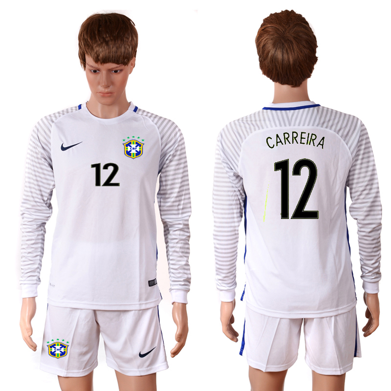 2016-2017 National Brazil white goalkeeper long sleeves 12 CARREIRA Soccer Jersey