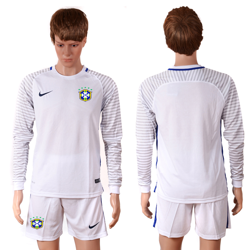 2016-2017 National Brazil white goalkeeper long sleeves Blank Soccer Jersey