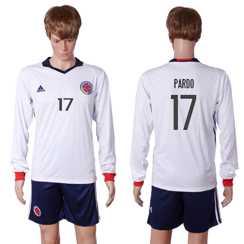 2016-2017 National Colombia Home 17 PARDO long sleeve White Soccer Jersey