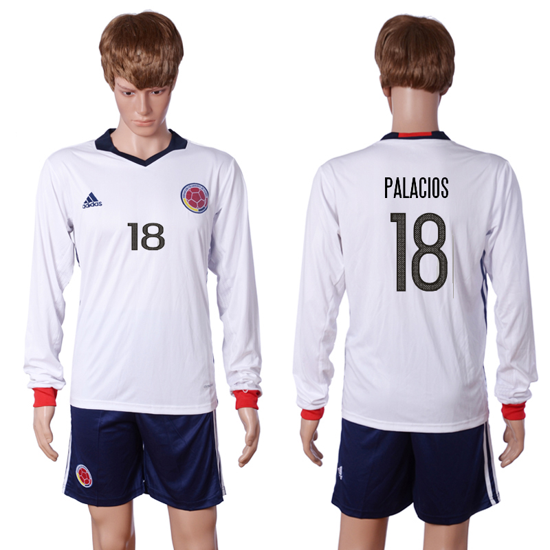 2016-2017 National Colombia Home 18 PALACIOS long sleeve White Soccer Jersey