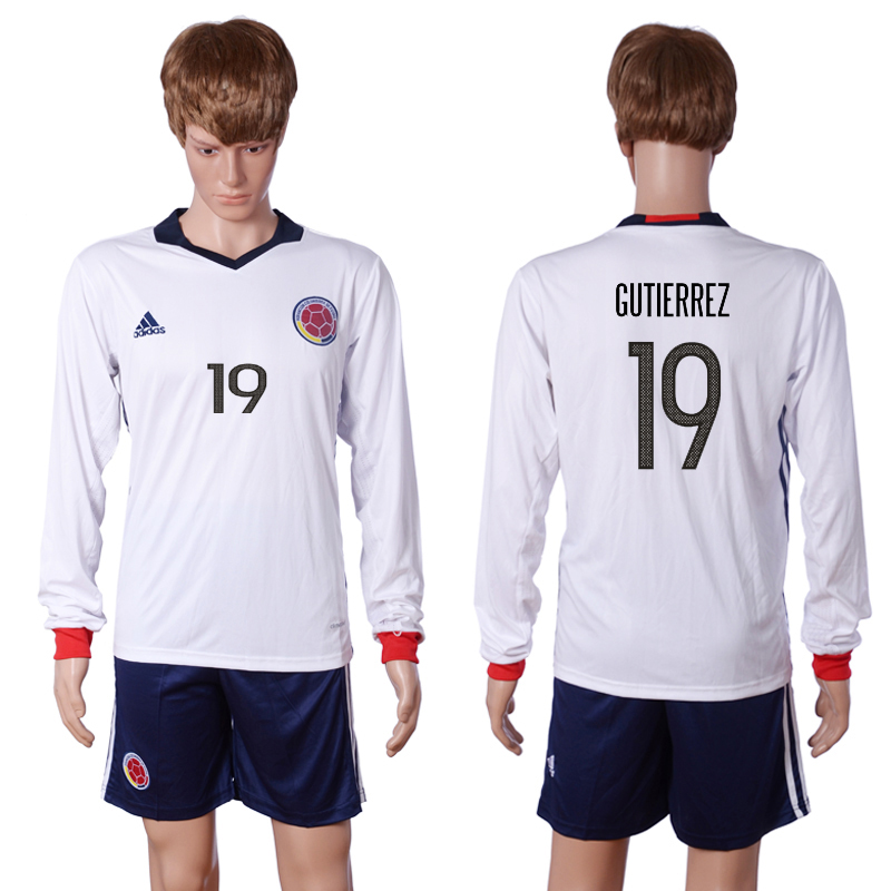 2016-2017 National Colombia Home 19 GUTIERREZ long sleeve White Soccer Jersey