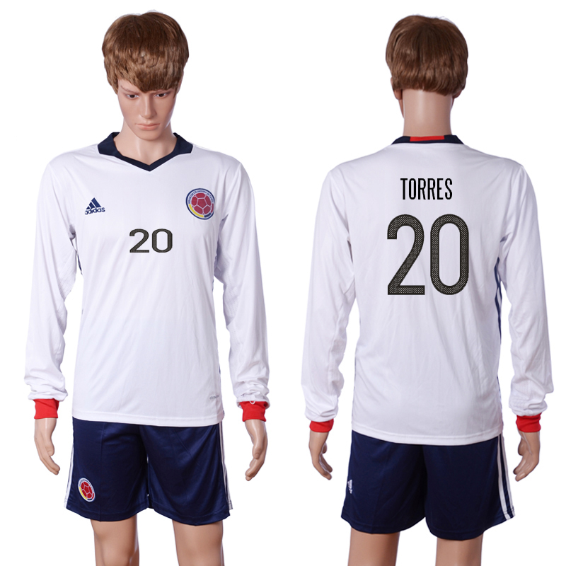 2016-2017 National Colombia Home 20 TORRES long sleeve White Soccer Jersey