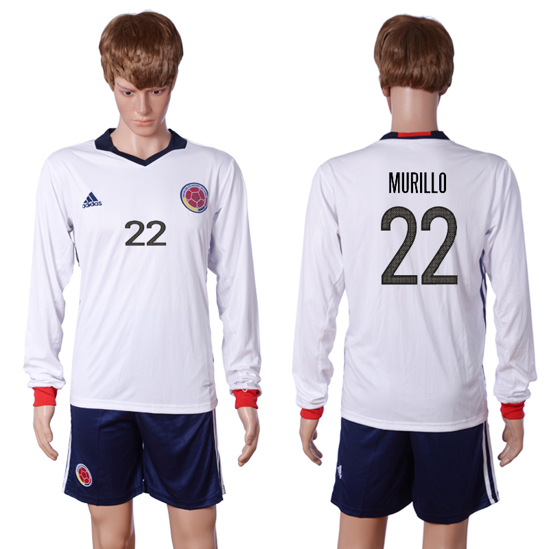 2016-2017 National Colombia Home 22 MURILLO long sleeve White Soccer Jersey