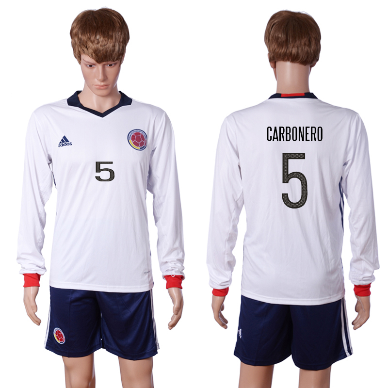 2016-2017 National Colombia Home 5 CARBONERO long sleeve White Soccer Jersey