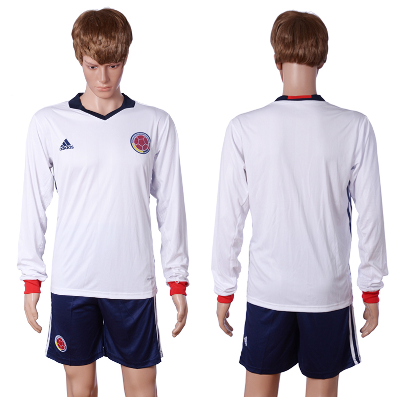 2016-2017 National Colombia Home Blank long sleeve White Soccer Jersey