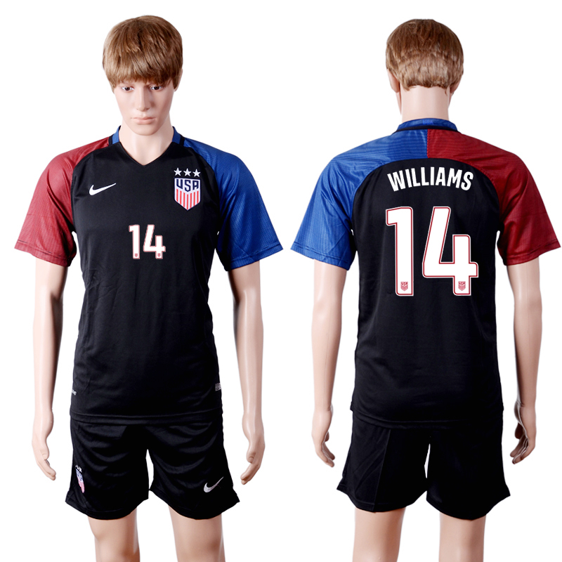 2016-2017 National USA away three stars 14 WILLIAMS Black Soccer Jersey