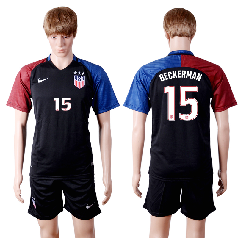 2016-2017 National USA away three stars 15 Black Soccer Jersey