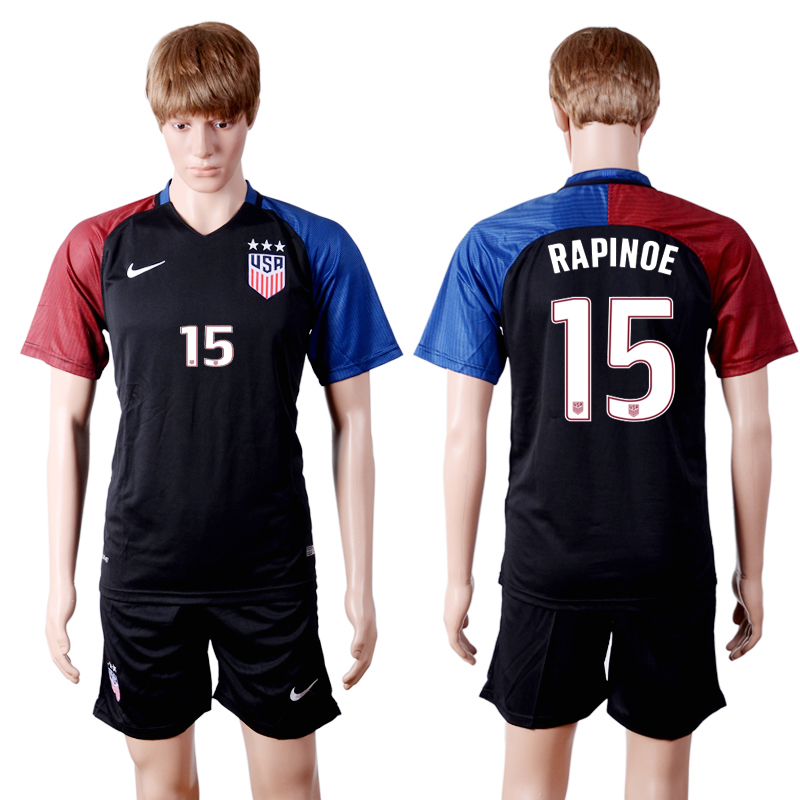 2016-2017 National USA away three stars 15 RAPINOE Black Soccer Jersey
