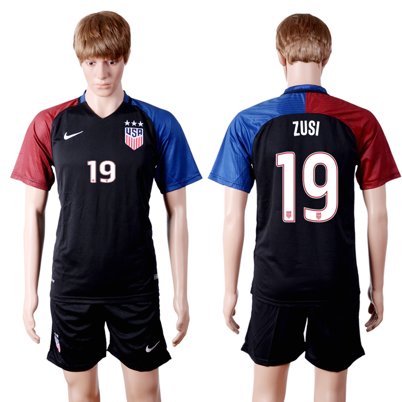 2016-2017 National USA away three stars 19 ZUSI Black Soccer Jersey
