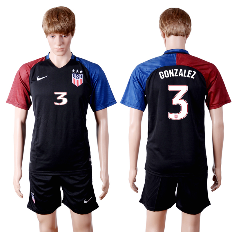 2016-2017 National USA away three stars 3 Black Soccer Jersey