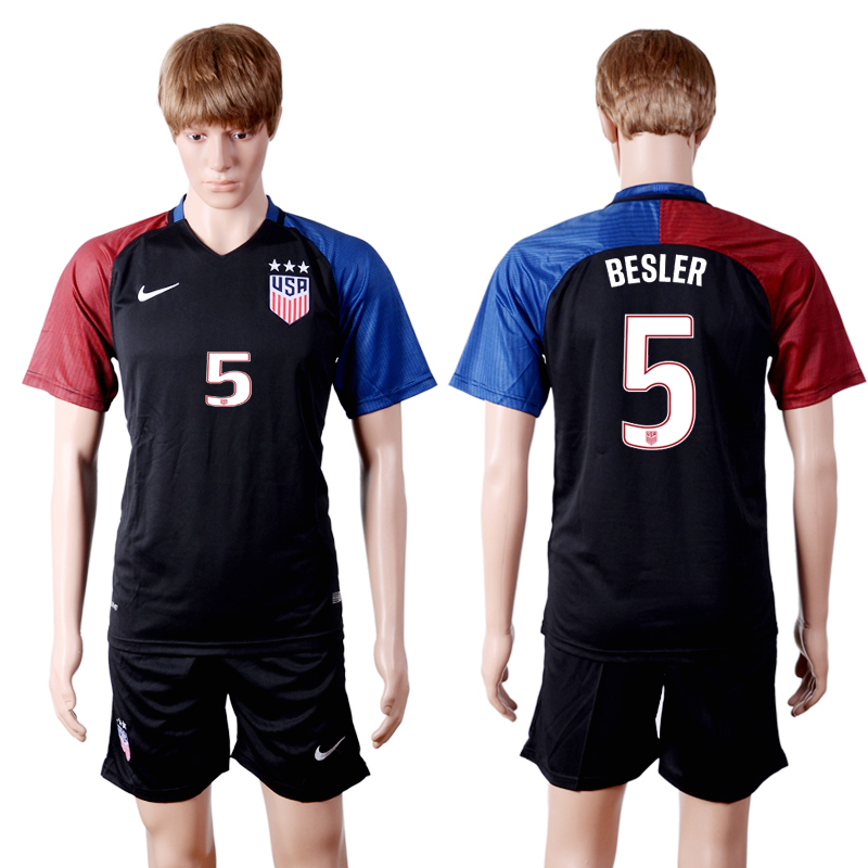 2016-2017 National USA away three stars 5 Black Soccer Jersey