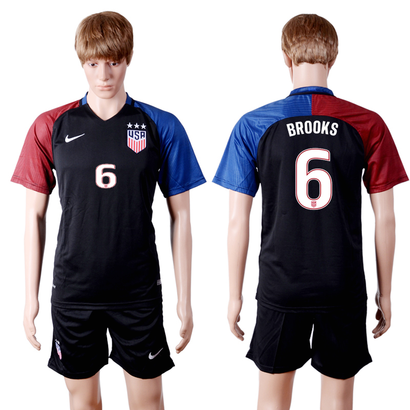 2016-2017 National USA away three stars 6 Black Soccer Jersey