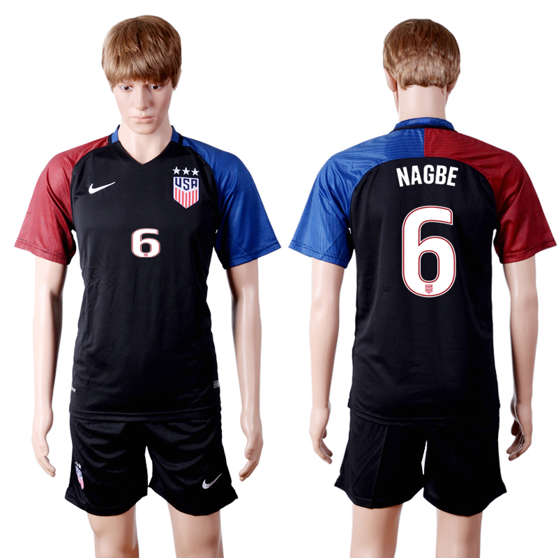 2016-2017 National USA away three stars 6 NAGBE Black Soccer Jersey