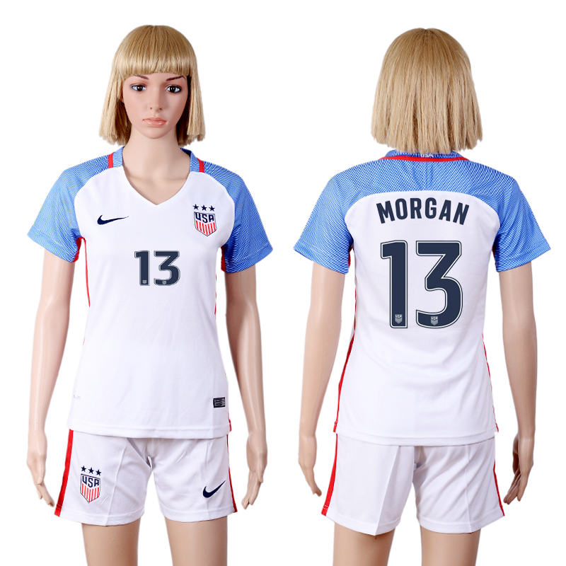 2016-2017 National USA home three stars 13 MORGAN White Womens Soccer Jersey