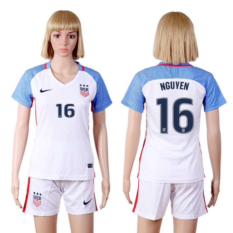 2016-2017 National USA home three stars 16 White Womens Soccer Jersey