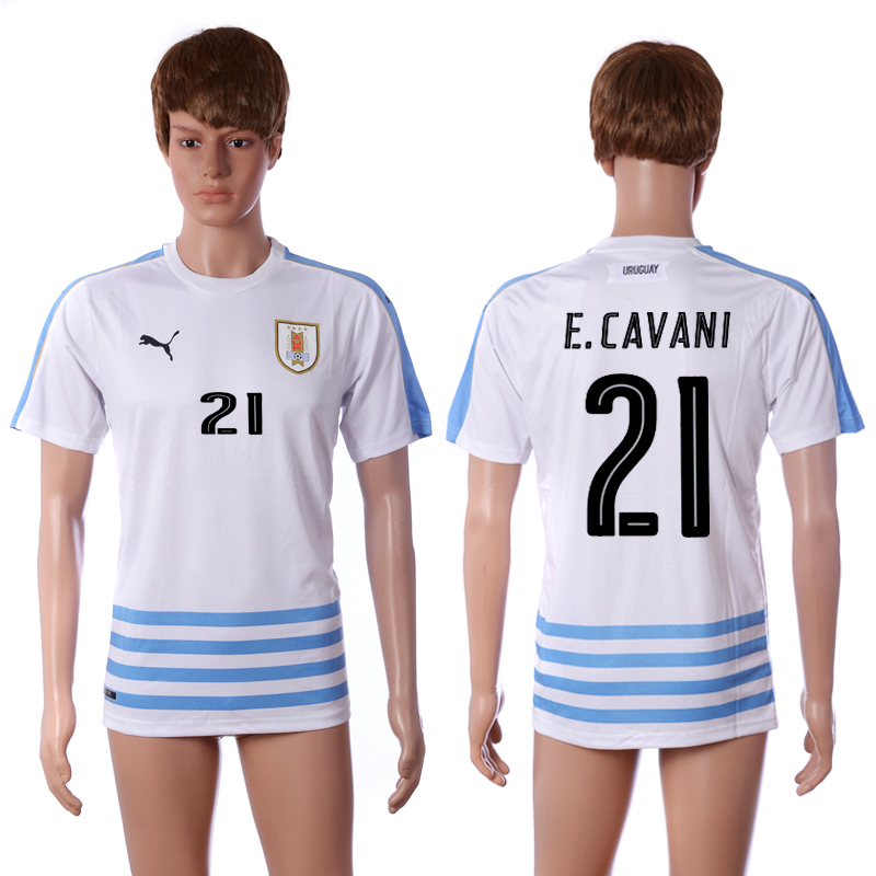 2016-2017 National Uruguay away 21 E.Cavani white AAA+ soccer jerseys