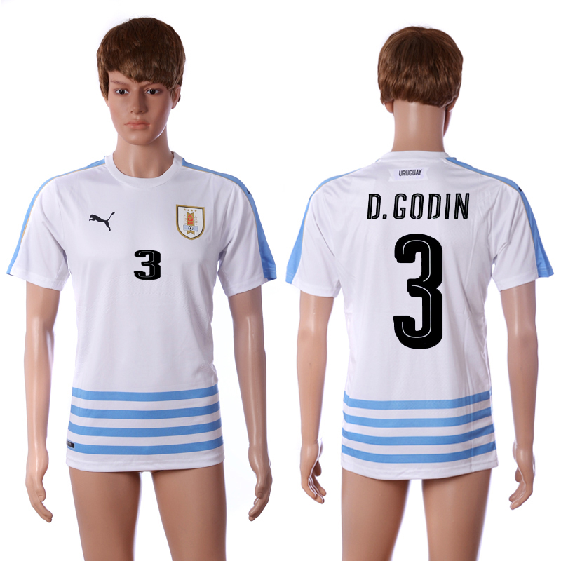2016-2017 National Uruguay away 3 D.Godin white AAA+ soccer jerseys