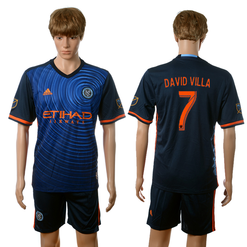 2016-2017 New York City FC away 7 David Villa blue soccer jerseys