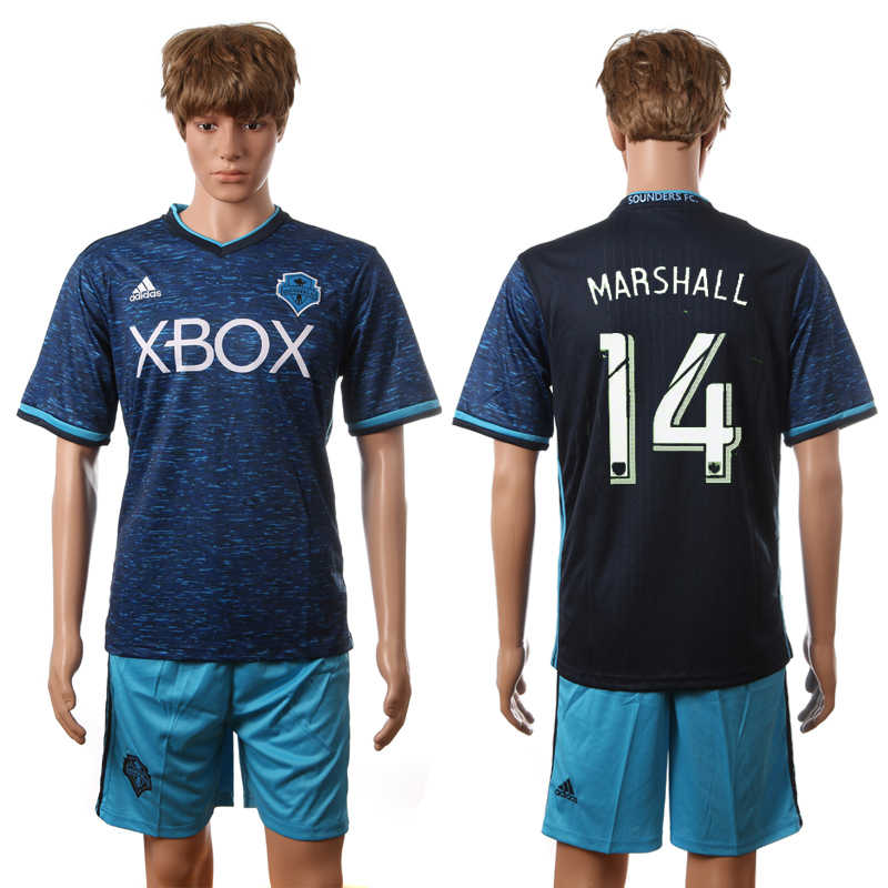 2016-2017 Seattle Sounders FC second away 14 Marshall blue soccer jerseys