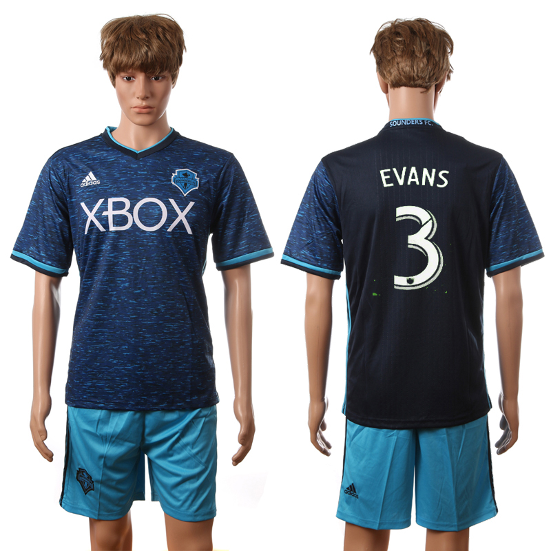 2016-2017 Seattle Sounders FC second away 3 Evans blue soccer jerseys