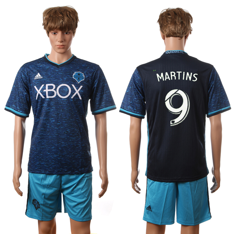 2016-2017 Seattle Sounders FC second away 9 Martins blue soccer jerseys
