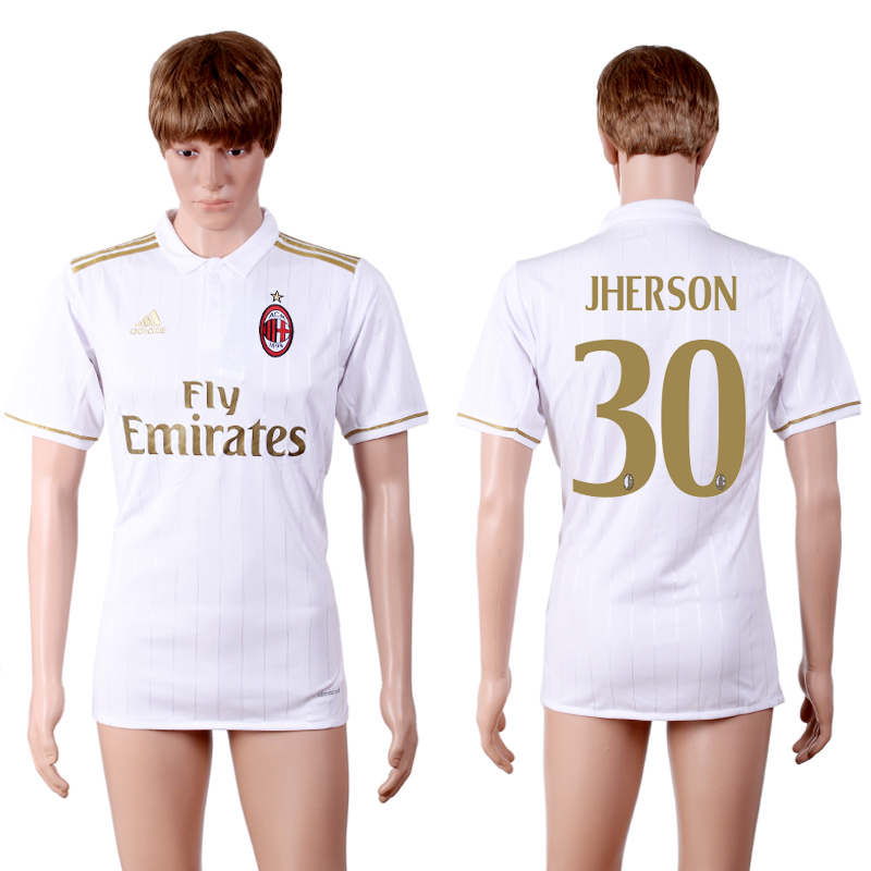 2016-2017 club A.C. Milan away 30 White AAA+Soccer Jersey