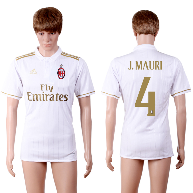 2016-2017 club A.C. Milan away 4 White AAA+Soccer Jersey