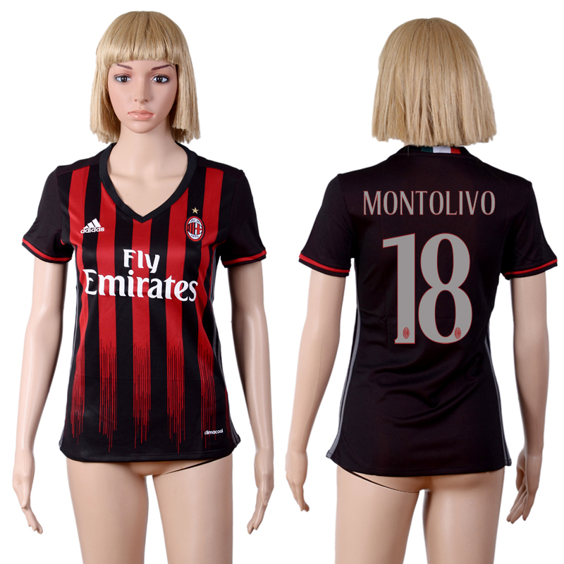 2016-2017 club A.C. Milan home 18 Black Womens Soccer Jersey