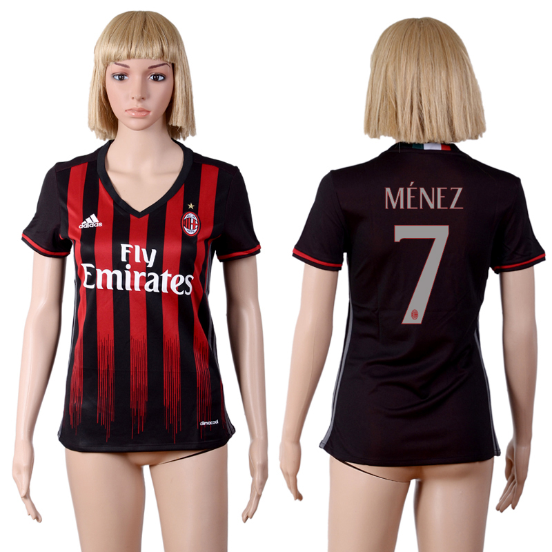 2016-2017 club A.C. Milan home 7 Black Womens Soccer Jersey