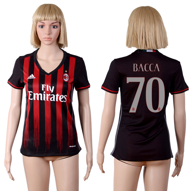 2016-2017 club A.C. Milan home 70 Black Womens Soccer Jersey
