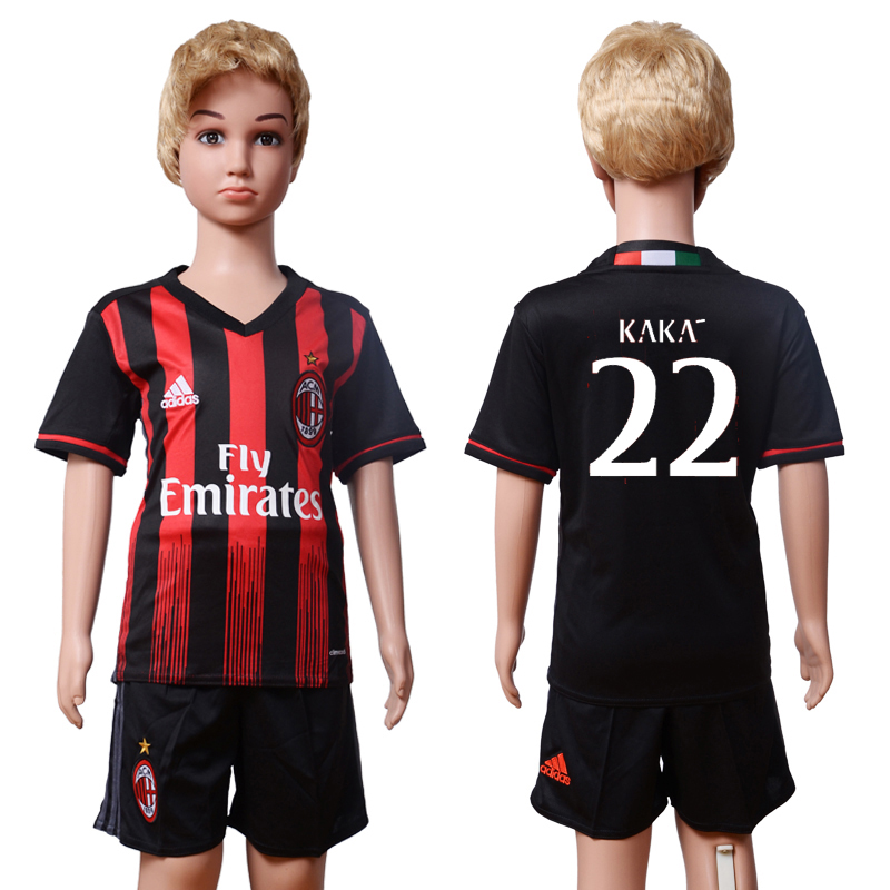 2016-2017 club AC milan home Kids 22 KAKA Black Soccer Jersey