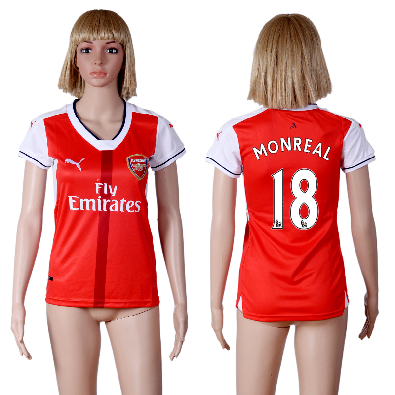 2016-2017 club Arsenal home 18 Red Womens Soccer Jersey