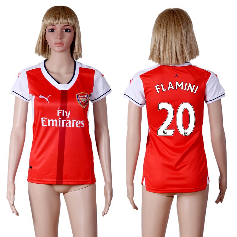 2016-2017 club Arsenal home 20 Red Womens Soccer Jersey