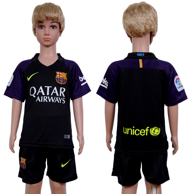 2016-2017 club Barcelona goalkeeper kids Black Soccer Jersey