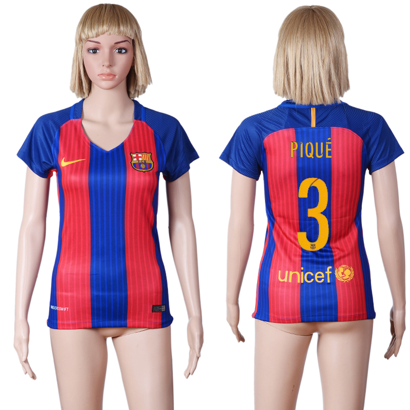 2016-2017 club Barcelona home 3 Blue Red Womens Soccer Jersey