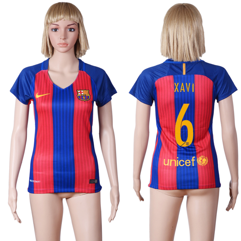 2016-2017 club Barcelona home 6 Blue Red Womens Soccer Jersey