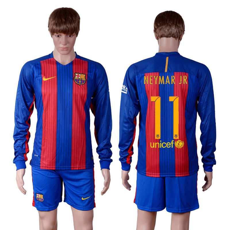 2016-2017 club Barcelona home long sleeve 11 Blue Soccer Jersey