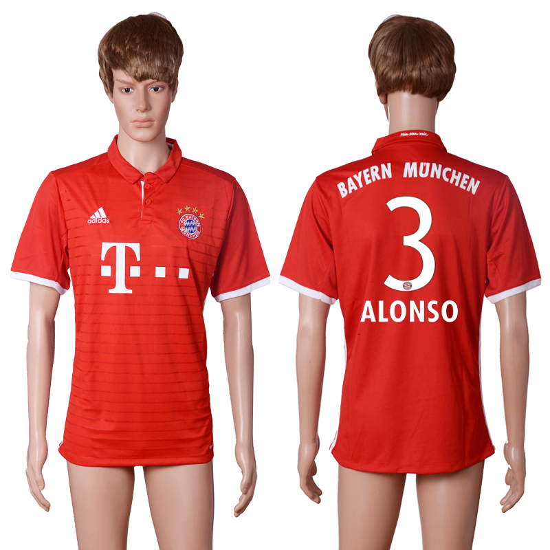 2016-2017 club Bayern Munich home 3 ALONSO Red AAA+ soccer jerseys