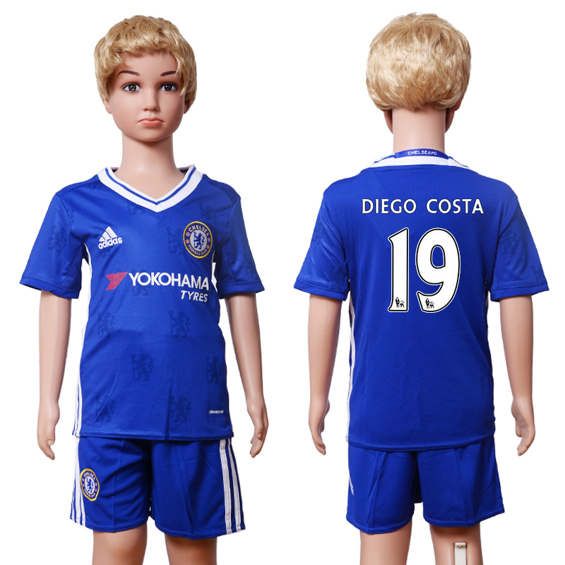 2016-2017 club Chelsea home Kids 19 Diego Costa Blue Soccer Jersey