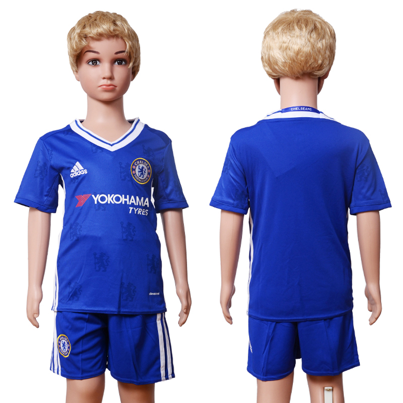 2016-2017 club Chelsea home Kids Blank Blue Soccer Jersey