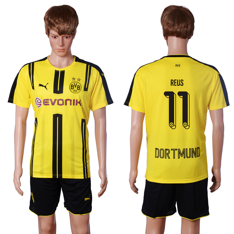 2016-2017 club Dortmund home 11 REUS Yellow Soccer Jersey