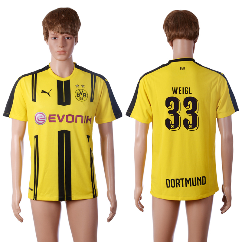 2016-2017 club Dortmund home 33 WEIGL Yellow AAA+ Soccer Jersey