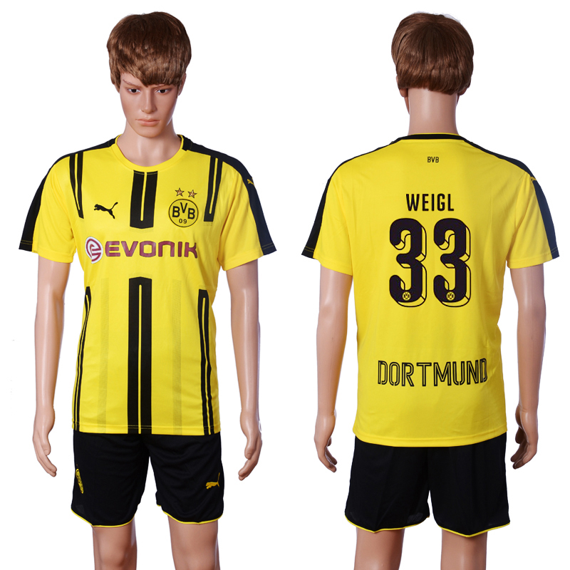 2016-2017 club Dortmund home 33 WEIGL Yellow Soccer Jersey