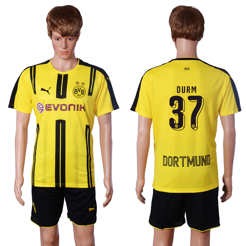 2016-2017 club Dortmund home 37 DURM Yellow Soccer Jersey