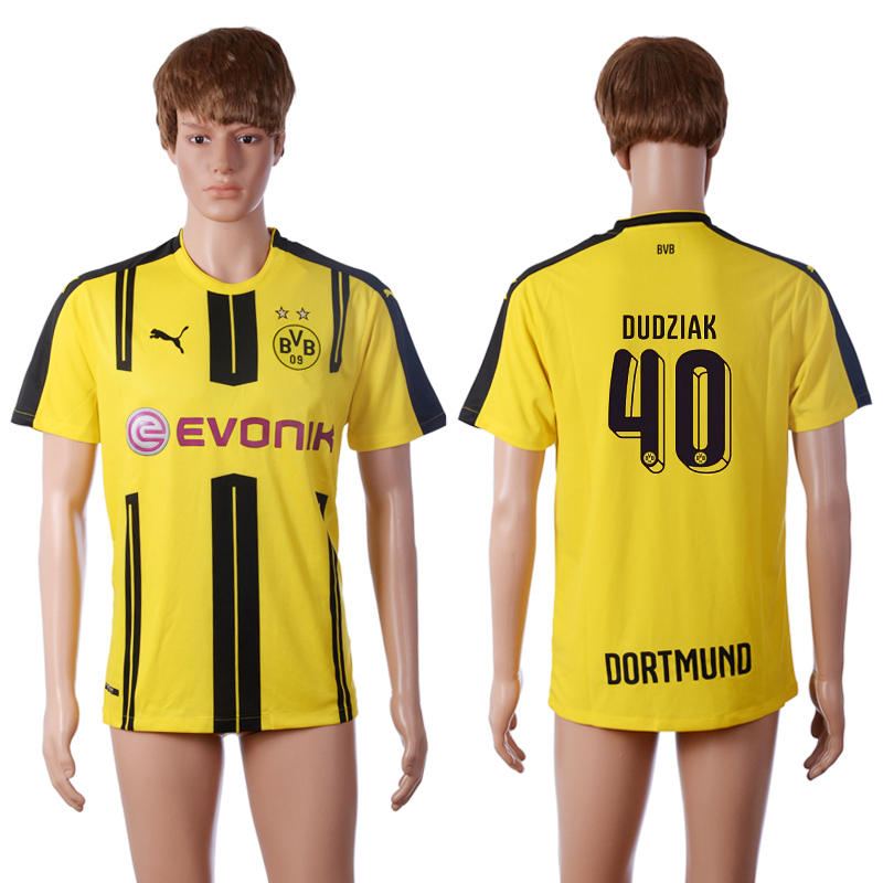 2016-2017 club Dortmund home 40 DUDZIAK Yellow AAA+ Soccer Jersey