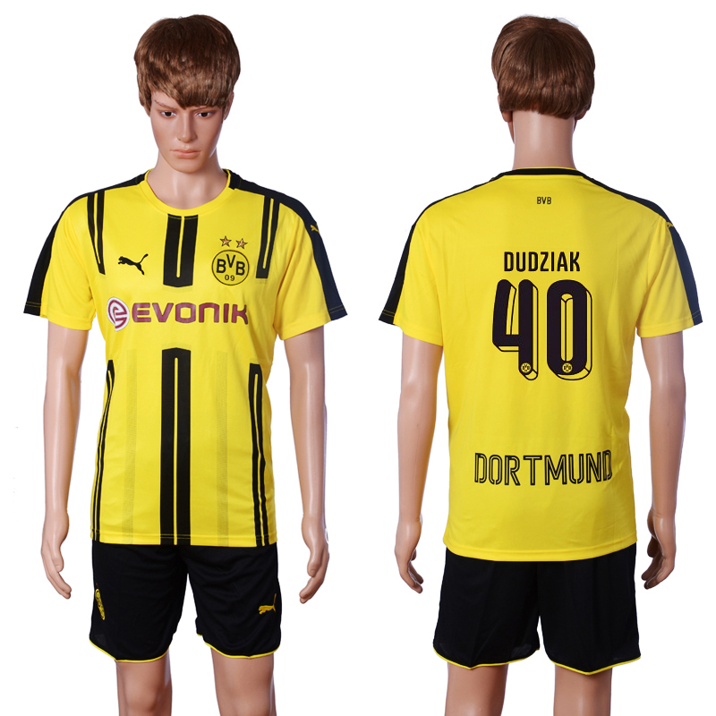 2016-2017 club Dortmund home 40 DUDZIAK Yellow Soccer Jersey
