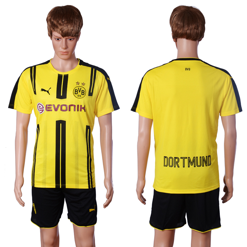 2016-2017 club Dortmund home Blank Yellow Soccer Jersey