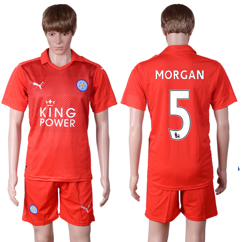 2016-2017 club Leicester City away 5 Red Soccer Jersey